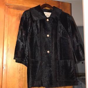 Milly Black Fur Coat. size 8
